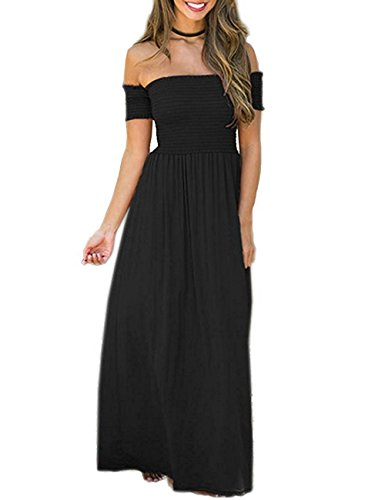 Barbella Women's Smocked Off Shoulder Short Sleeve Empire Waist Pleated Maxi Dress, Black, Small (Dresses Smocked Empire)