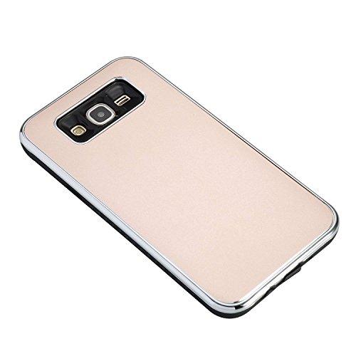 SRY-Funda móvil Samsung Para Samsung Galaxy J7, cubierta dura absorbente de choque híbrida desmontable de doble capa PC + TPU funda protectora ( Color : Black ) Rosegold