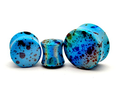 Pair of Blue Opalescent Splatter Acrylic Plugs Double Flare (PA-410) (00g (10mm)) (Acrylic Double Flare)