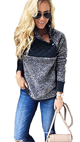Mintsnow Women's Casual Long Sleeve Color Block Sweatshirts Pullover Patchwork Sweaters L