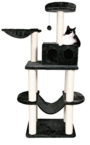 Tarragona Cat Playground in Dark Gray - Premium Cat Tree for Large Cats and Kittens, Cat Furniture Bundles with Scratching Post, Cat Condo, Cat Tree Hammock and Cat Toys, Cheap Cat Trees and Condos with 1 Year Warranty