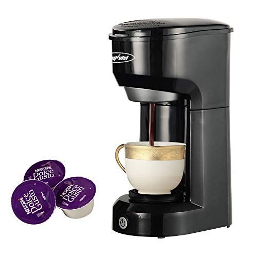 Single Serve Coffee Maker Brewer for Single Cup, K-Cup Coffeemaker With Permanent Filter, 6oz to 14oz Mug, One-touch Control Button with Illumination (Black)