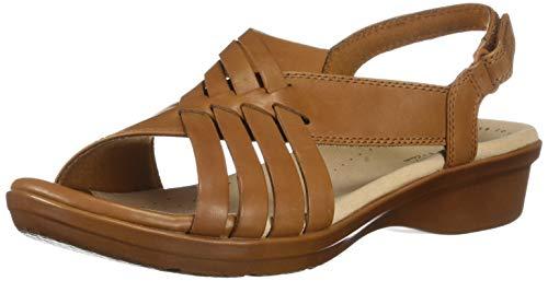 CLARKS Women's Loomis Cassey Sandal, tan Leather, 050 M US
