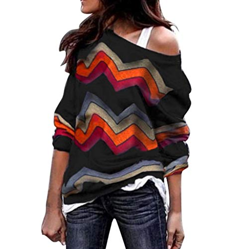 (LEXUPA Fashion Women Long Sleeve Geometric Print Blouse Sweatshirt Pullover Casual)