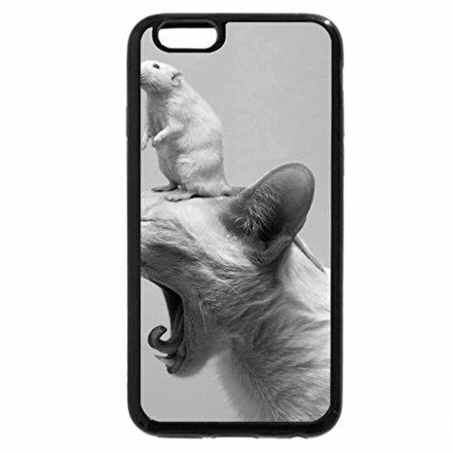 iPhone 6S Case, iPhone 6 Case (Black & White) - Rat on cat