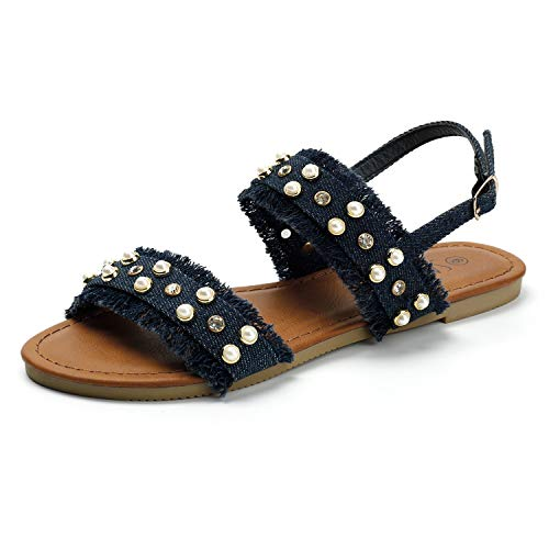 SANDALUP Open Toe Denim Flat Sandals with Pearls and Rhinestone Rivets for Women Navy Blue 09 Denim Open Toe Sandals