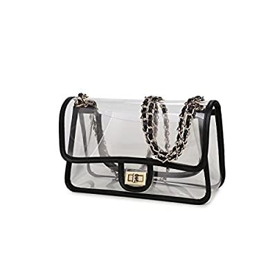 Lam Gallery Womens Clear Purse Turn Lock Handbags Chain Shoulder Bags NFL Approved Bags
