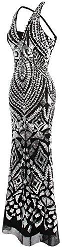Deco fashions Col de Paillette Gaine Licou Argent Femme Longue Robe Angel Soiree V Art q6SdxnIxwZ