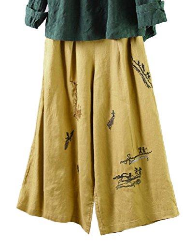 Minibee Women's Linen Cropped Pants Half Elastic Waist Straight Trousers