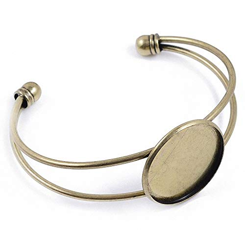 ZX Jewelry 5pcs/lot Fit 1 Inch Round Cabochon Bezel Tray Blank Bangles for Men and Women Antique Bronze