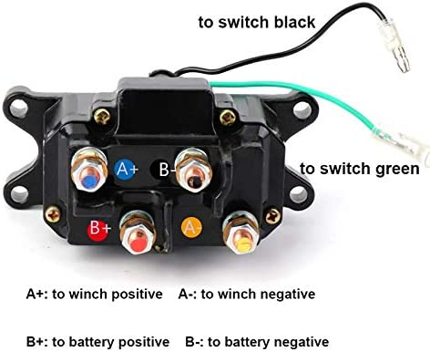 MaySpare 250A 12V Winch Solenoid Relay Contactor Winch Rocker Thumb Switch with Mounting Brackets Terminal Caps and Handle Bar Control Switch for ATV UTV 1500lb-5000lb