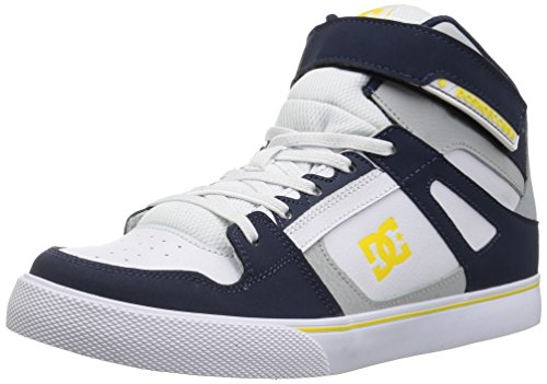 Image of DC Boys' Pure HIGH-TOP EV Skate Shoe, Navy/Grey, 13.5M M US Little Kid