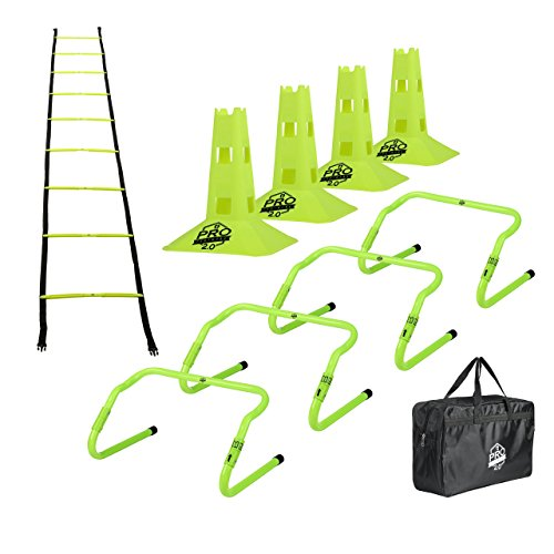 "Pro Footwork Agility Ladder and Hurdle Training Set with Carry Bag - Speed Training Exercise Practice for Soccer, Football & All Sports - Adjustable Heights 6"", 9"" & 12"" (Green-Pro footwork 2.0)"