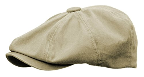 Rooster Washed Cotton Newsboy Gatsby Ivy Cap Golf Cabbie Driving Hat (Large, Khaki)