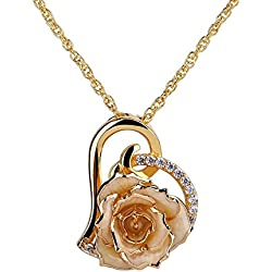 ZJchao 24K Gold Plated Rhinestone Heart Shaped Cream Rose Pendant Necklace for Women