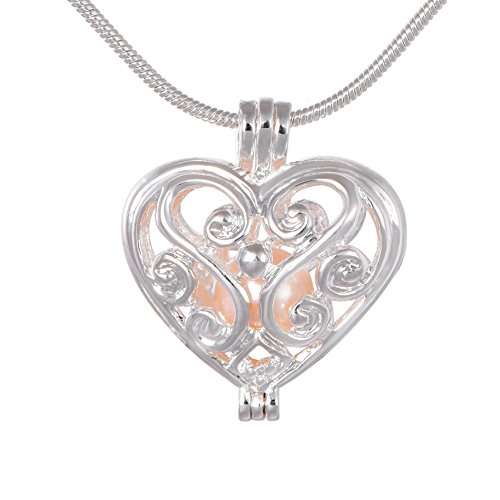 Love Heart Locket Pearl Cage 925 Silver Tone Necklace Pendant Freshwater Cultured Pearl Beads in Oyster Gift Charms Chain 17.7