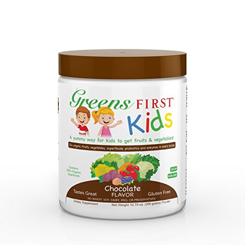 Greens First Kids - Chocolate - Better Immunity, Decreased Obesity Risk & Better School Performance, Essential Source Of Vitamins & Minerals, Digestive Enzymes, USDA - 10.79 Ounce 30 Servings