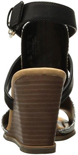 Dr. Scholls Donna Celine Platform Sandalo Nero / Bianco Stampa Serpente