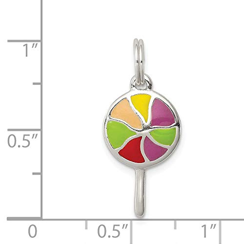 Lollipop Enameled - Sterling Silver Enameled Lollipop Charm (1.1IN long x 0.4IN wide)