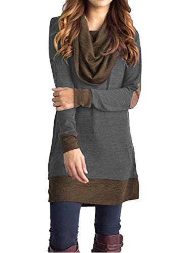 Famulily Long Tunic Tops for Women Fall Cotton Elebow Patch Long Sleeve Turtle Cowl Neck Sweater Shirt Blouse Dark Grey M