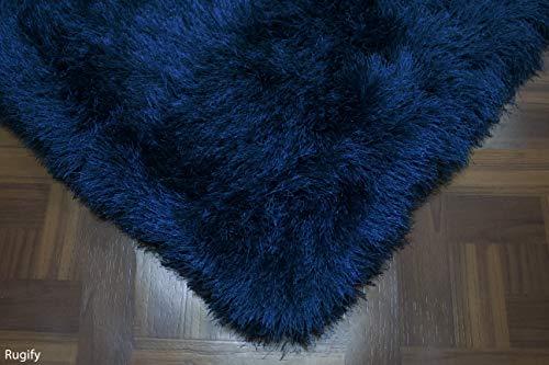 5'x7' Feet Navy Blue Dark Blue Shaggy Shag Fluffy Fuzzy Furry Area Rug Carpet Modern Design High End Designer Quality Flokati High Pile Soft Iridescent Sheen Ultra Plush Sale ( GLORIOUS NAVY BLUE )