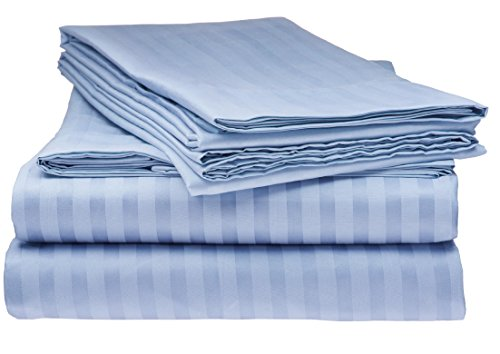 Deluxe Shop Light - Deluxe 1800 Series – Luxurious Soft Brushed Microfiber – Deep Pocket Striped Bed Sheet Set - 6 Piece - KING Size - LIGHT BLUE