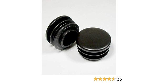 ajile - 4 piezas - Contera redonda acanalada para tubos - diámetro 50 mm - NEGRO - EPR150-M