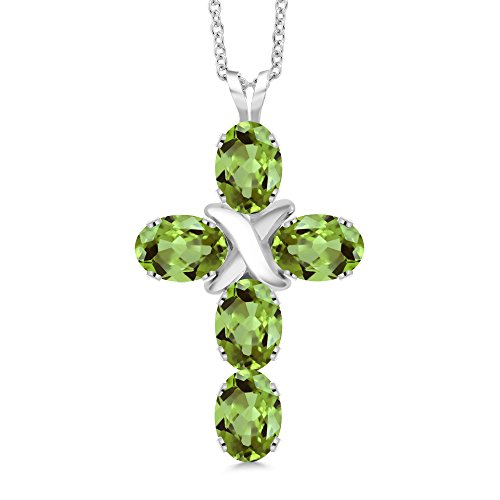 2.50 Ct Oval Green Peridot 925 Sterling Silver Cross Pendant With 18