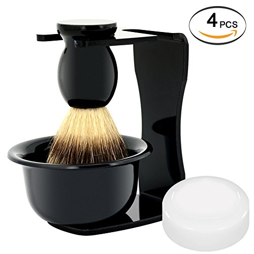 Shaving Set 4IN1 Badger Hair Shaving Brush Acrylic Shaving Razor Stand Holder Shaving Soap Bowl Shaving Soap Shaving Frame Base Beard Cleaning Shelf Kit Shaving Brush Stand Tools for Men (Black) ()