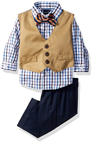 Nautica Boys' 4-Piece Vest Set with Dress Shirt, Bow Tie, Vest, and Pants, White/Navy, 0/3 Months]()