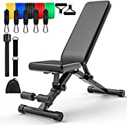 Adjustable Weight Bench for Full Body Workout,Foldable Fitness Bench for Home Gym Sports Gift 11pcs Resistance