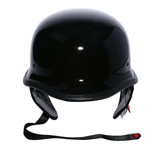 XFMT Gloss Black Dot German Half Face Chopper Cruiser Biker Helmet L