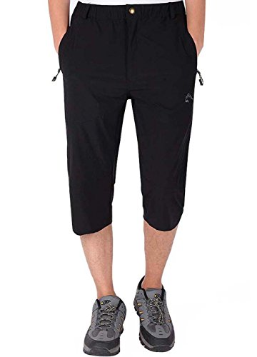 - LASIUMIAT Men's Outdoor Summer Running Pants Capri Pant 3/4 Outdoor Sports Hiking Cycling Cropped Trousers Black