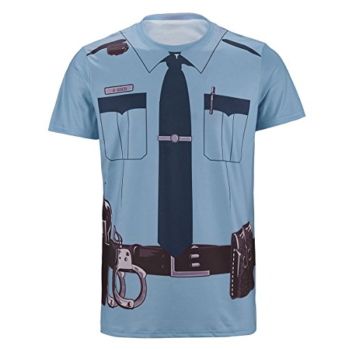 [Funny World Men's Police 3D Printed T-Shirt Gentleman T-Shirts Cosplay Apparel (XL, POLICE)] (Police Costumes For Men)