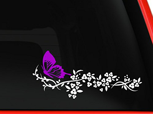 White Flower and Pink Butterfly, beautiful nature Decal Stic