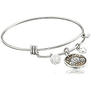Disney Stainless Steel Catch Bangle with Silver Plated Cinderella Carriage Charm If You Keep Believing the Dreams You Wish Will Come True and Crystal Bead Charm Bangle Bracelet