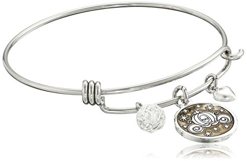 Disney Stainless Steel Catch Bangle with Silver Plated Cinderella Carriage Charm If You Keep Believing the Dreams You Wish Will Come True and Crystal Bead Charm Bangle Bracelet (Carriage Cinderella Disney)