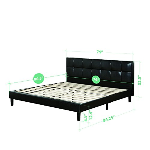 Zinus Grand Faux Leather Upholstered Square Detailed Premium Platform Bed with Wooden Slat Support, King