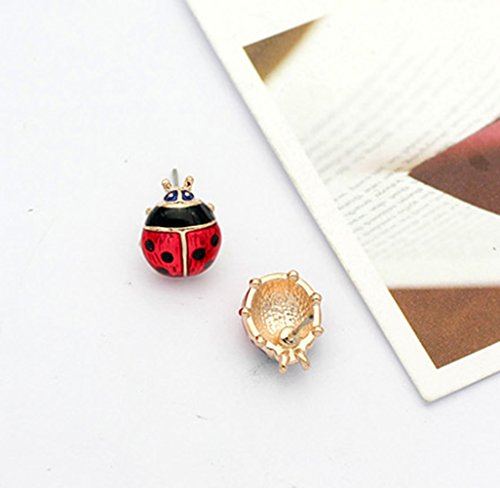 Rose Gold Plated Red Ladybug Black Spots Animal Stud Earrings Fashion Jewelry for Girls by Gift for Girls (Image #2)