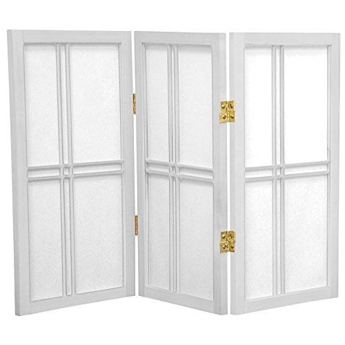 ORIENTAL FURNITURE 2 ft. Tall Desktop Double Cross Shoji Screen - White - 3 Panels