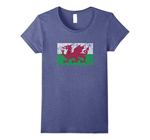 Womens Wales Flag Welsh Dragon Baner Cymru Y Ddraig Goch T Shirt XL Heather Blue Ladies Welsh Dragon