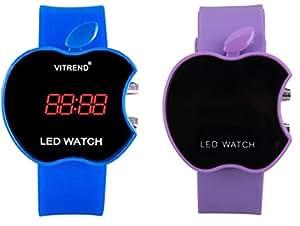 Swissrock Blue and Purple Combo Apple Shape Kids Digital LED Wrist Watch