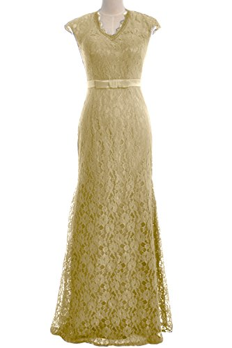 MACloth Women Mermaid Cap Sleeve Lace Long Evening Gown Wedding Formal Dress Champagne