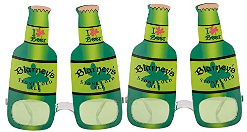 St. Patrick's Day Eye Glasses Funny Green Beer Bottle Shape Eyeglasses Irish Party Props Decoration Costume Accessories(2 Pack)