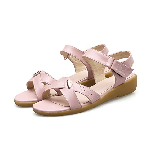 AdeeSu Womens Hook-and-Loop Peep-Toe Hollow Out Pleather Sandals SLC03678 Pink yXowu