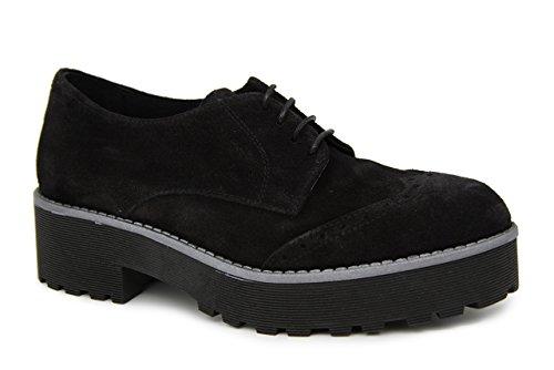 Serraje En Plataforma Negro Negro Blucher Ev1wqBB