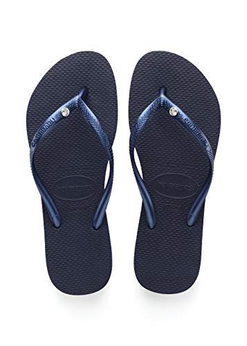 Havaianas Women's Slim Crystal Glamour SW Flip Flop Sandal, Navy Blue, 7/8 M US