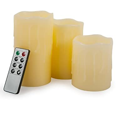 Set of 3 Beeswax Drip Flameless Pillar Candles in 3 sizes - with Auto Timer and Remote