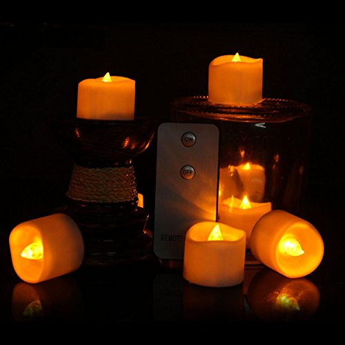 Flameless Candles With Remote, LifeGenius 12 PCS Flickering Amber Yellow Small Fake Tea Lights For Halloween Decoration Battery Operated LED Votives (Non Stop For Halloween 2017)