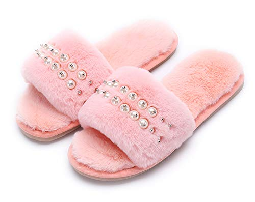 - Women's Fuzzy Fluffy Furry Fur Slippers Flip Flop Open Toe Cozy House Memory Foam Sandals Slides Soft Flat Comfy Anti-Slip Spa Indoor Outdoor Slip on (03/Pink, 9-10 N US)